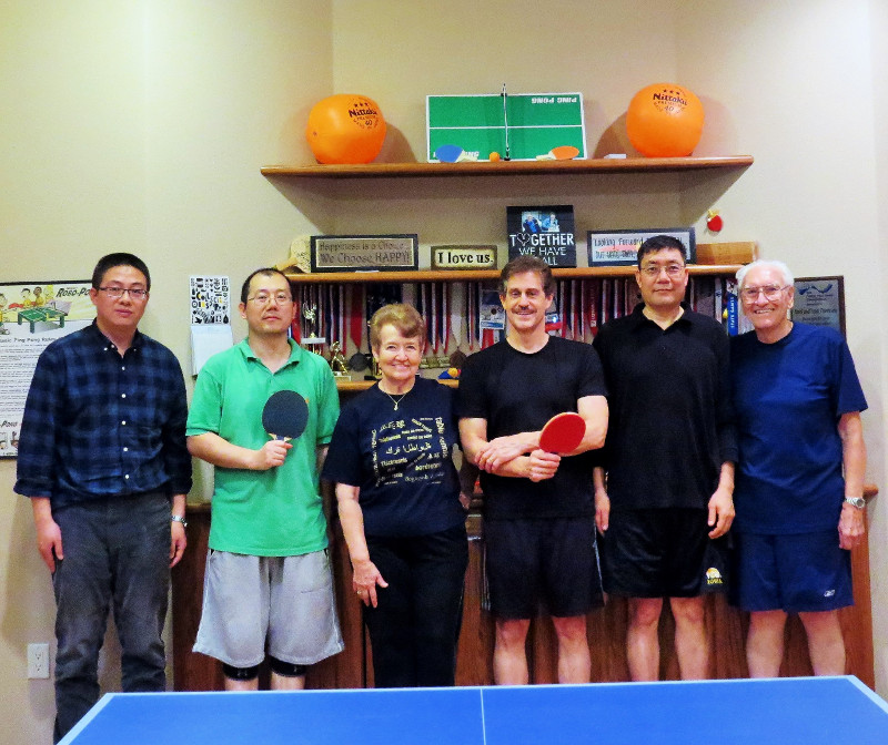 A group of table tennis players
